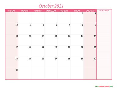 October Calendar 2021 with Notes | Calendar Quickly
