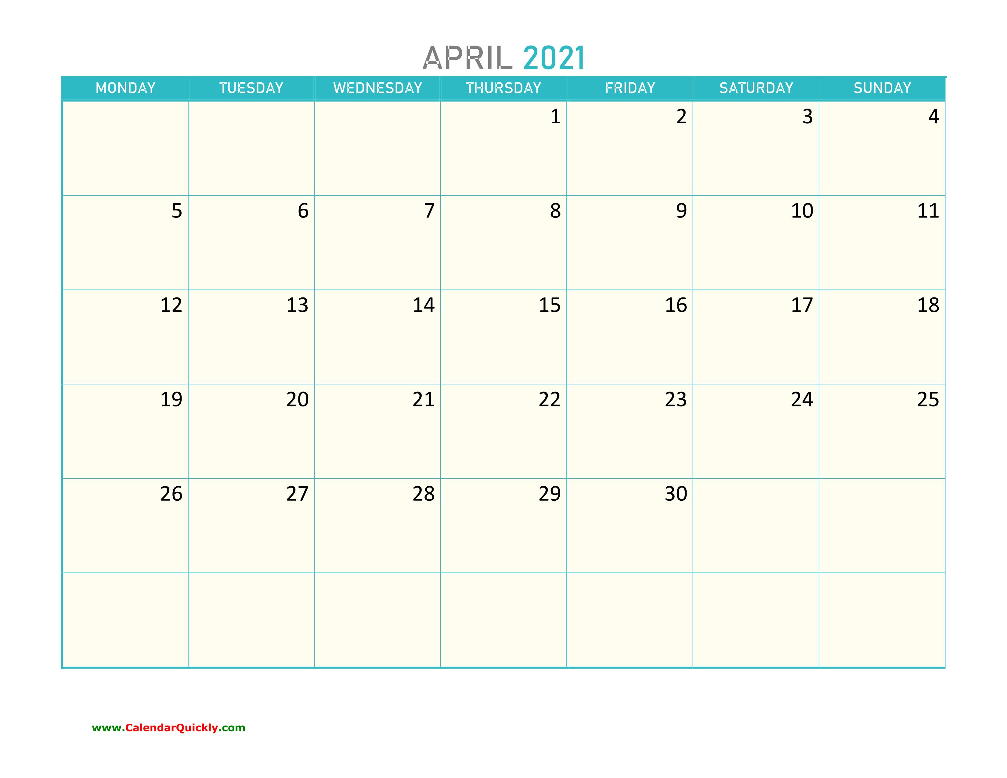 April Monday 2021 Calendar Printable   Calendar Quickly