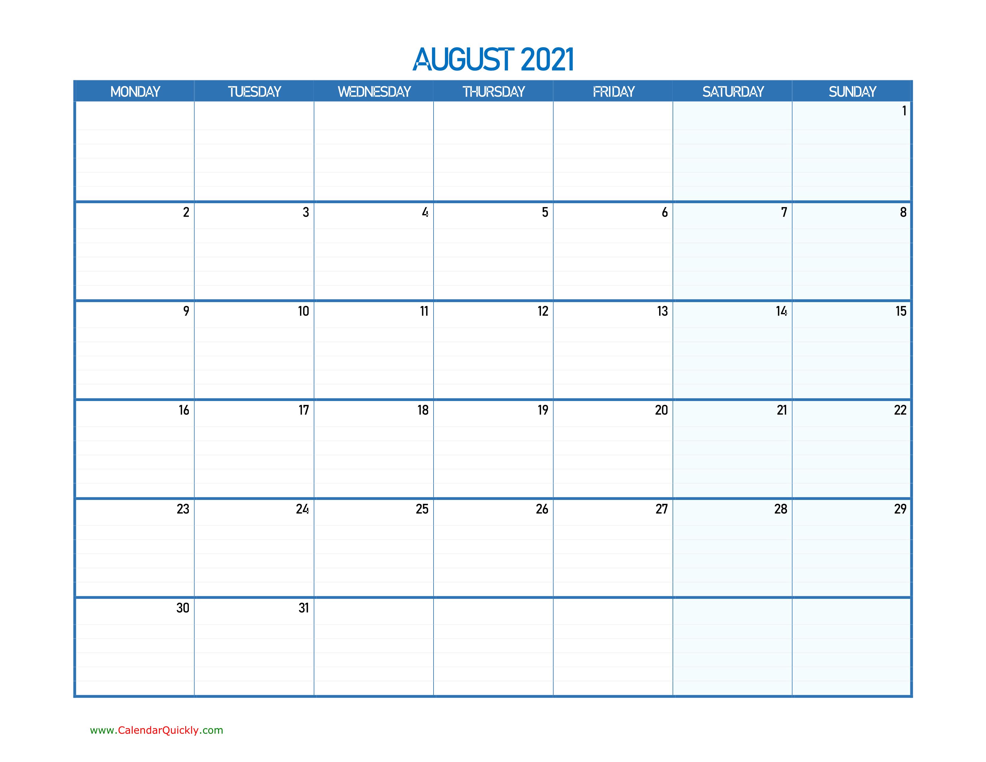 August Monday 2021 Blank Calendar   Calendar Quickly