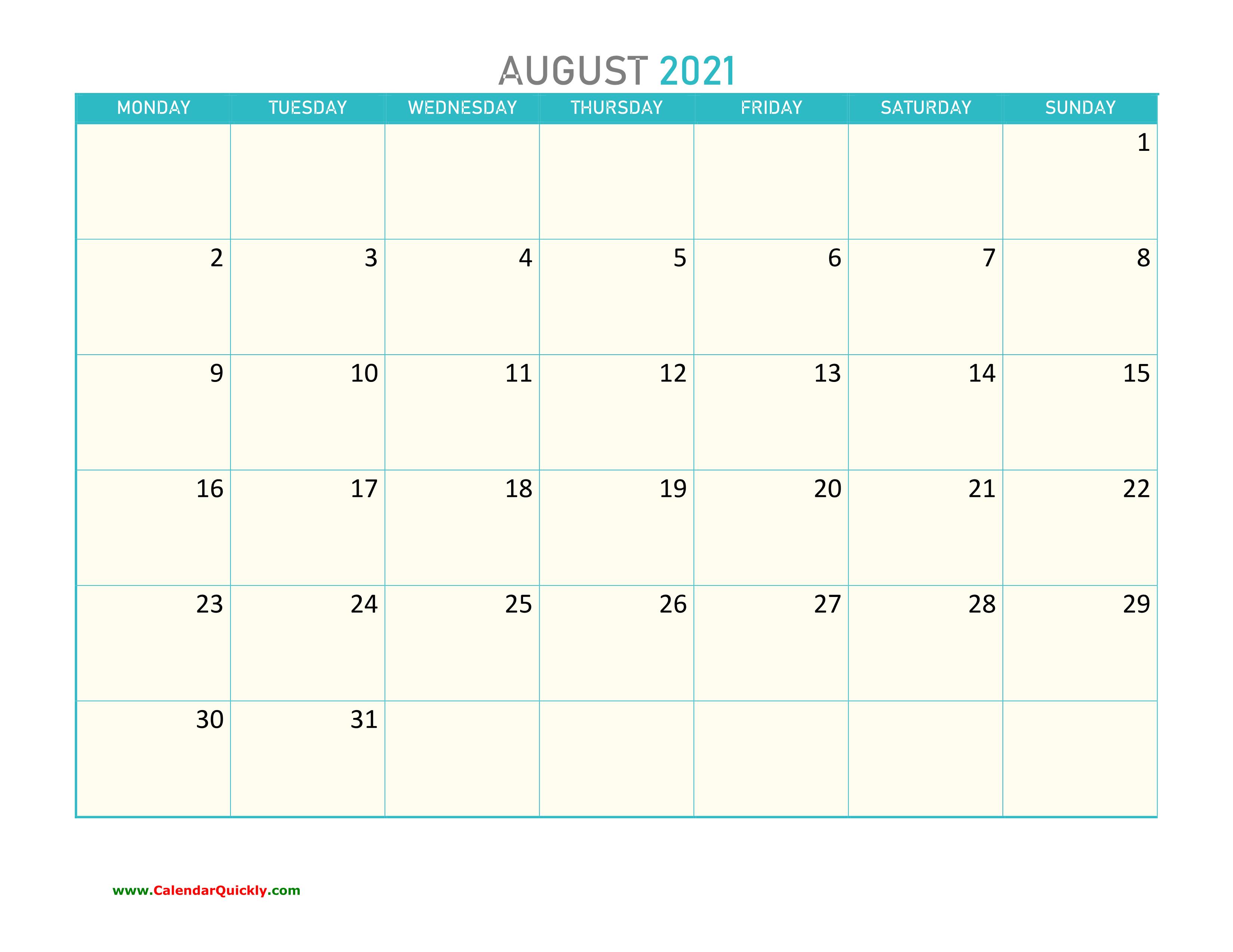 August Monday 2021 Calendar Printable | Calendar Quickly