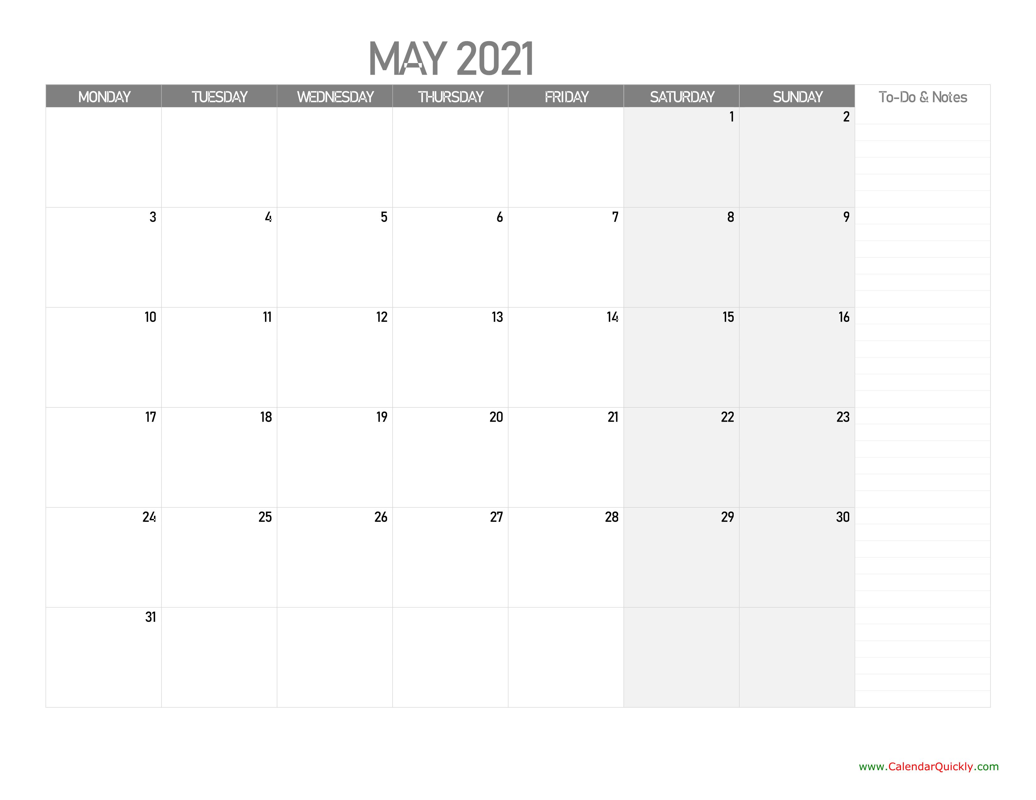 May Monday Calendar 2021 with Notes   Calendar Quickly