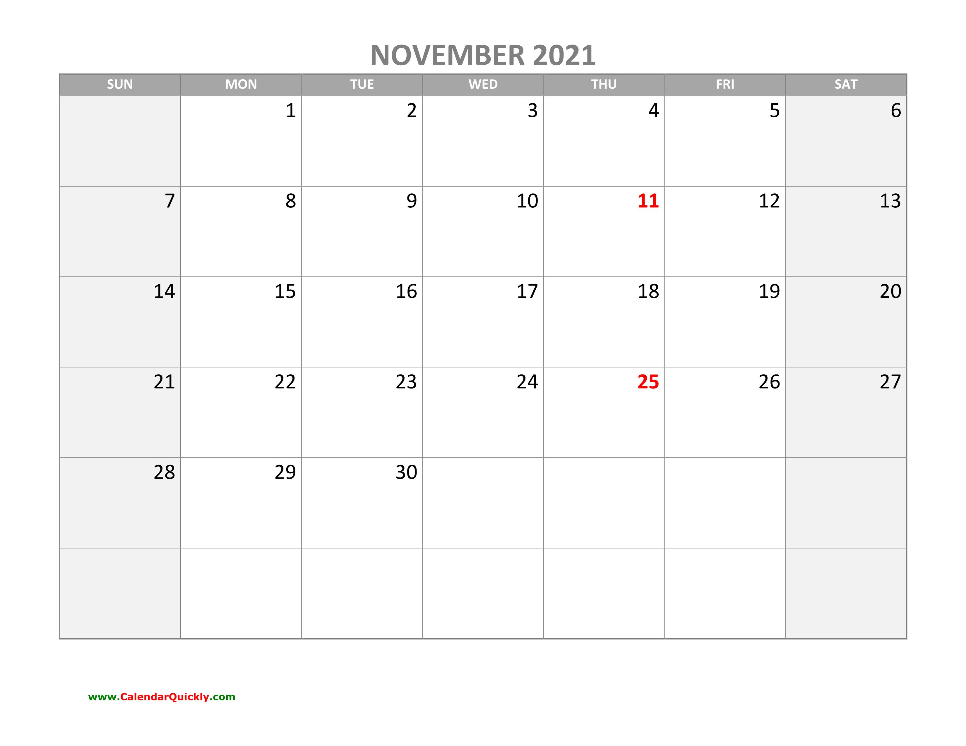 November Calendar 2021 with Holidays   Calendar Quickly