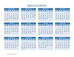 Calendar Year 2022.Year 2022 Calendars Calendar Quickly
