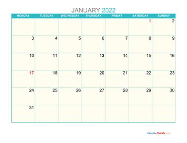 January Monday 2022 Calendar Printable | Calendar Quickly