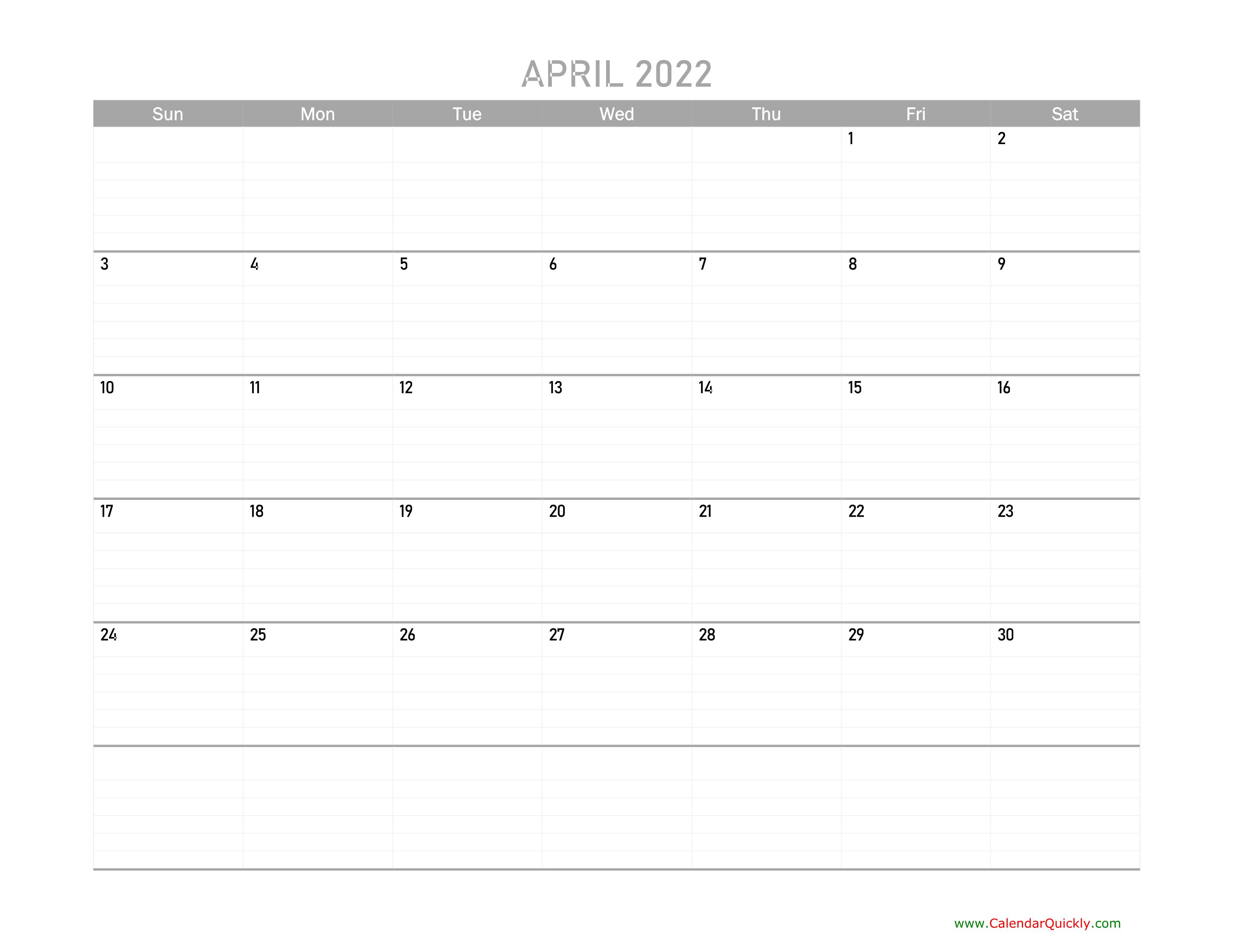 April Calendar 2022 Printable   Calendar Quickly