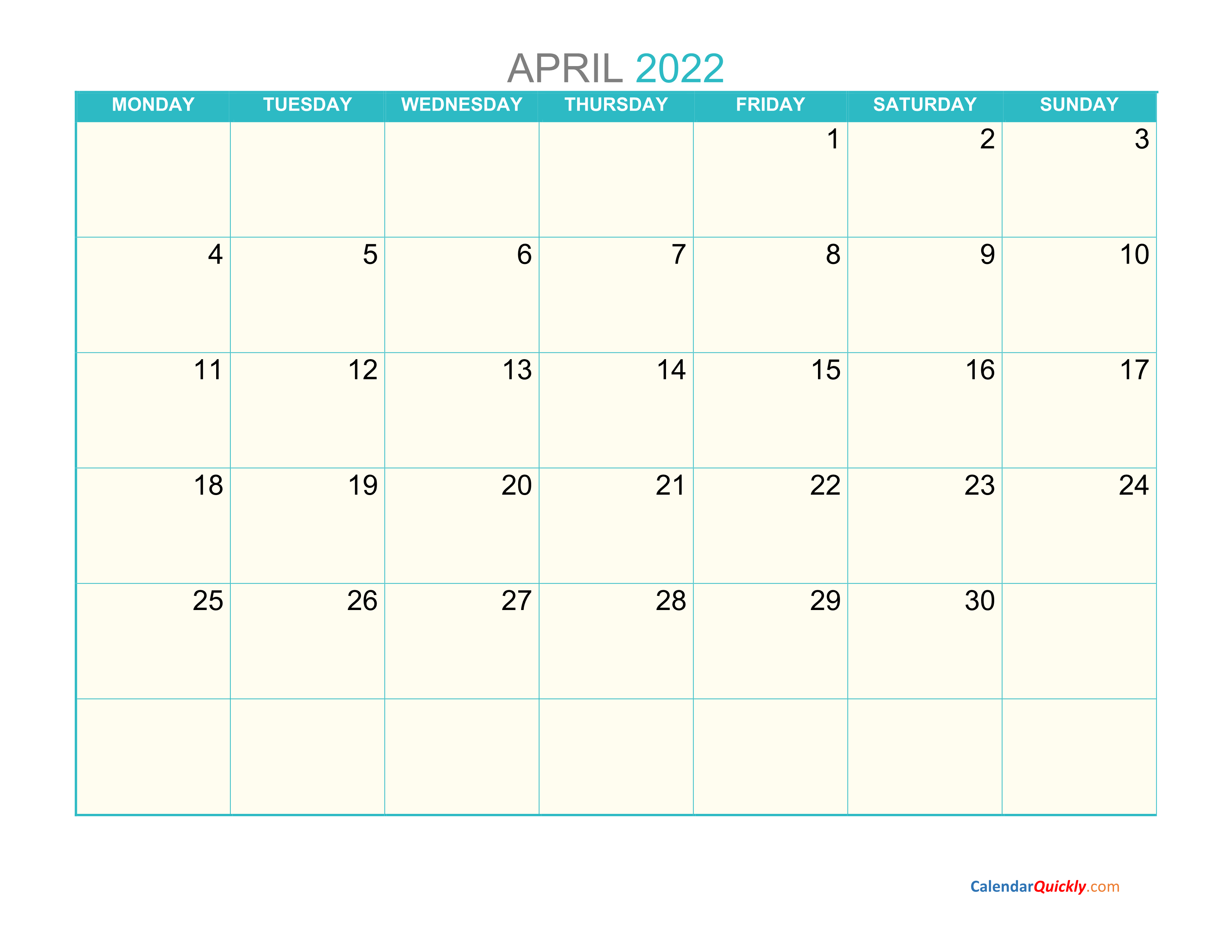 April Monday 2022 Calendar Printable | Calendar Quickly