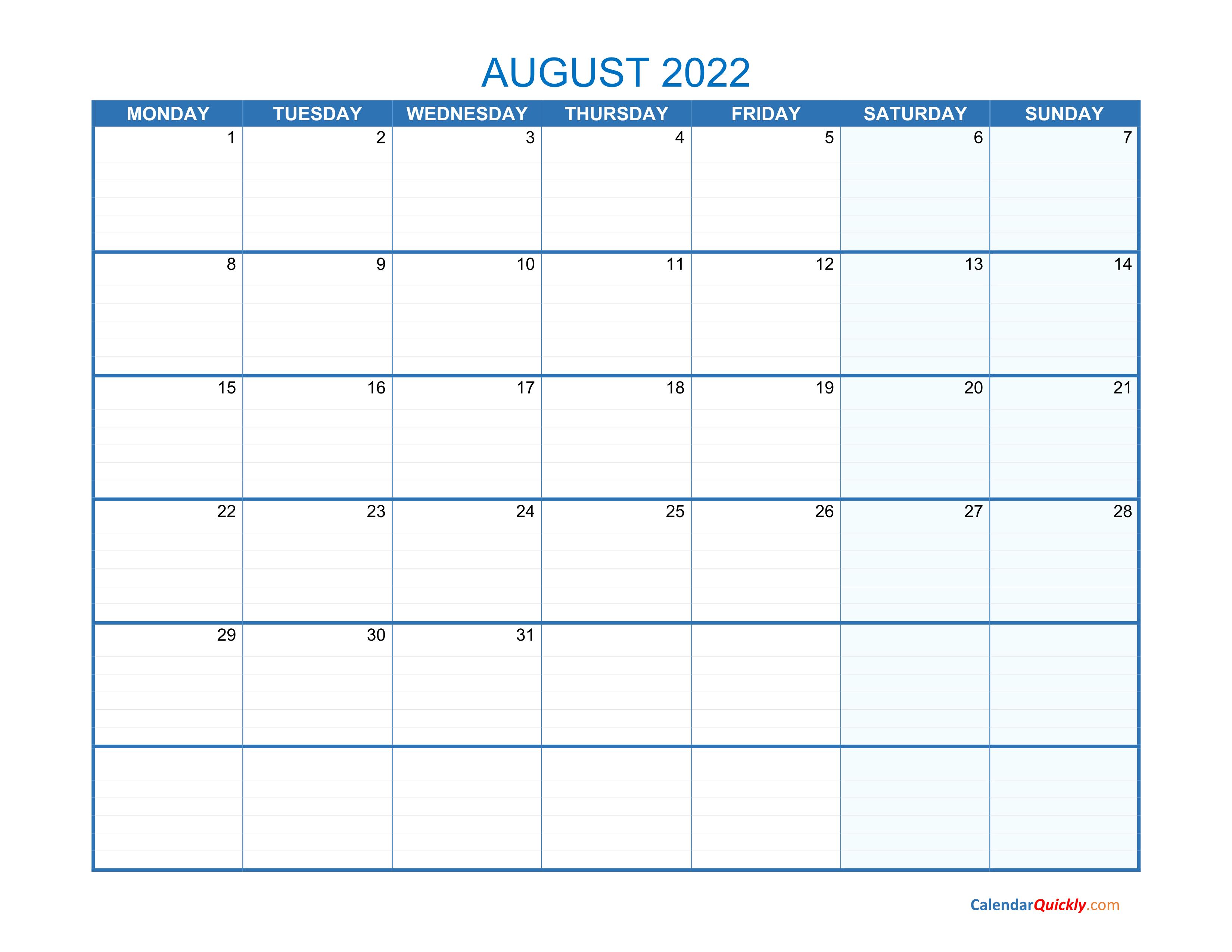 August Monday 2022 Blank Calendar | Calendar Quickly