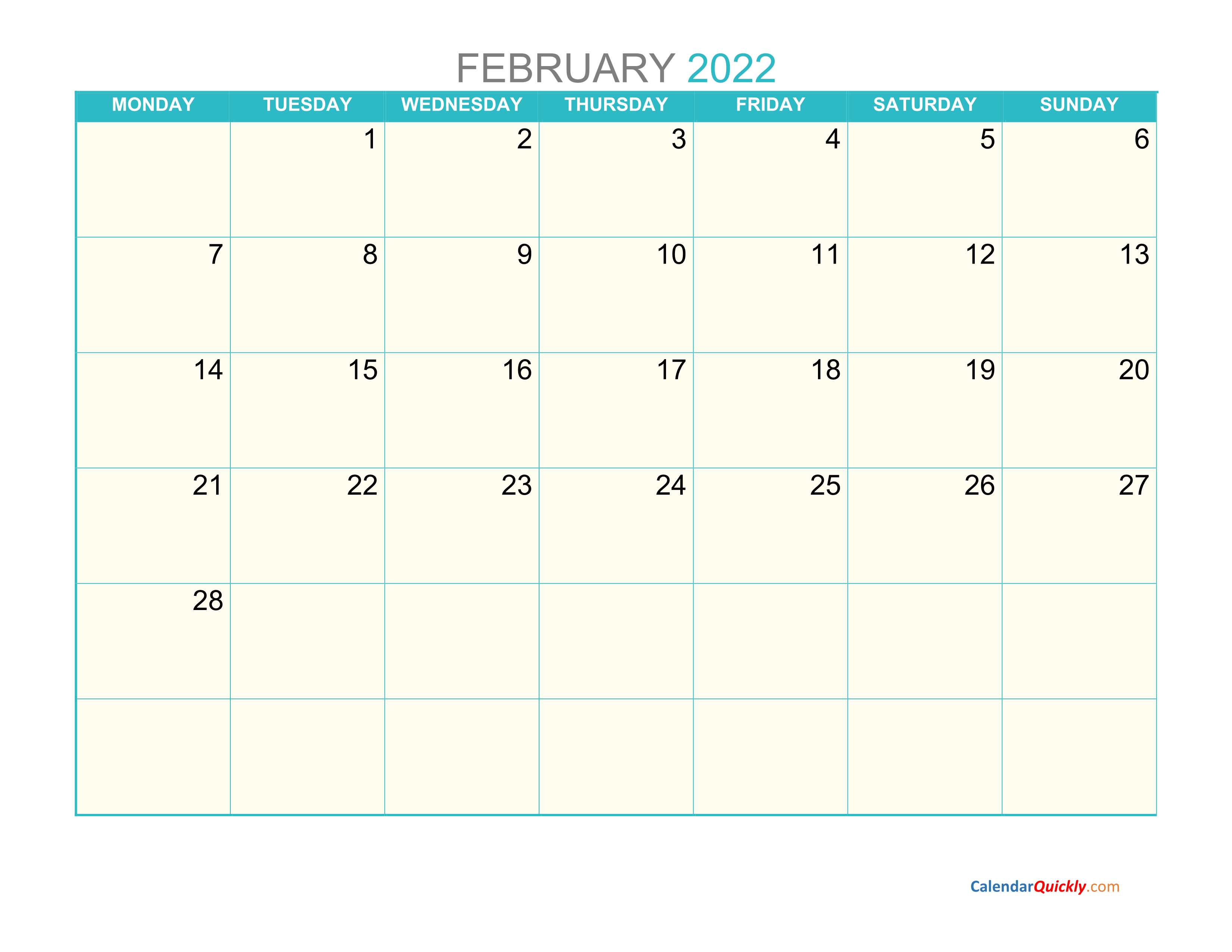 February Monday 2022 Calendar Printable | Calendar Quickly