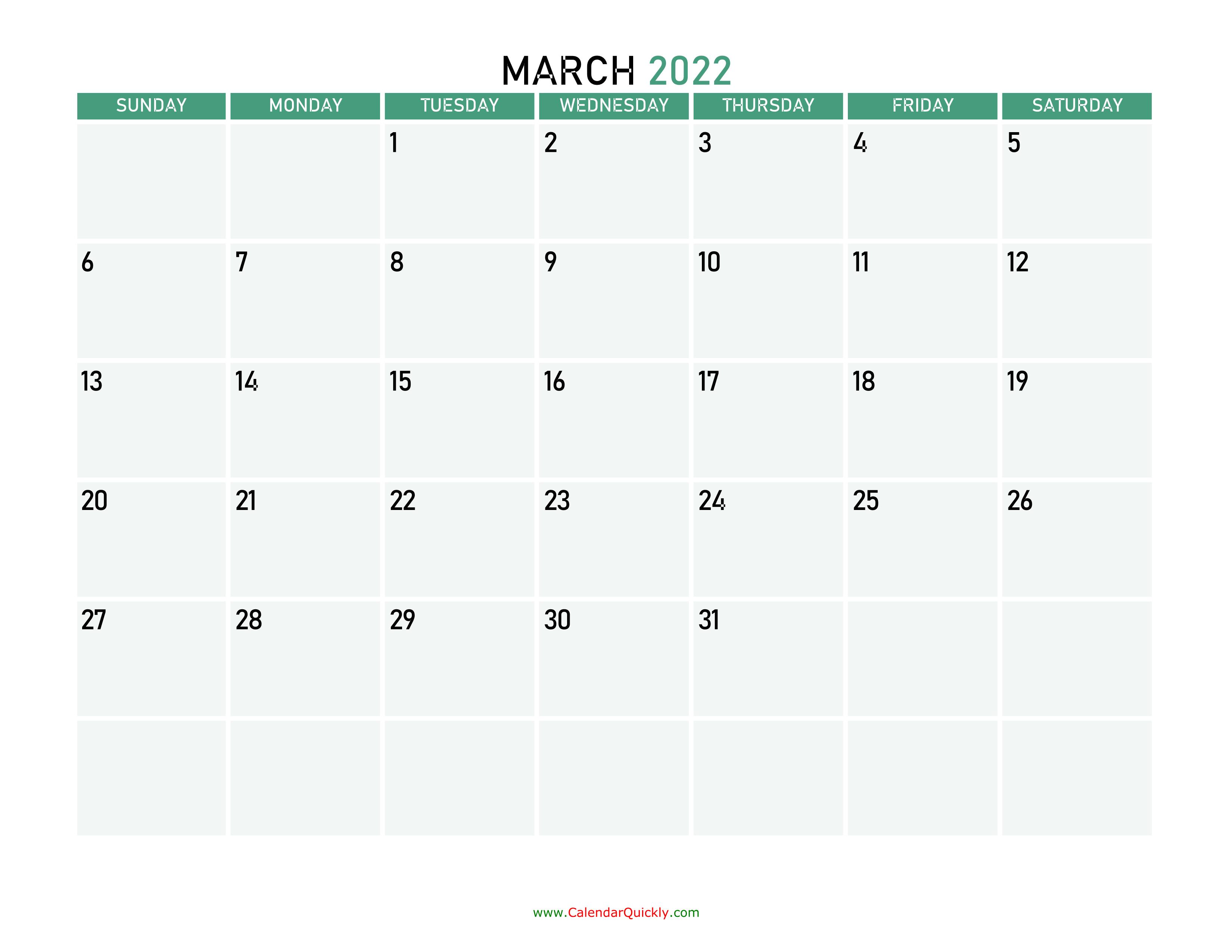 March Calendar 2022 Printable.March 2022 Printable Calendar Calendar Quickly