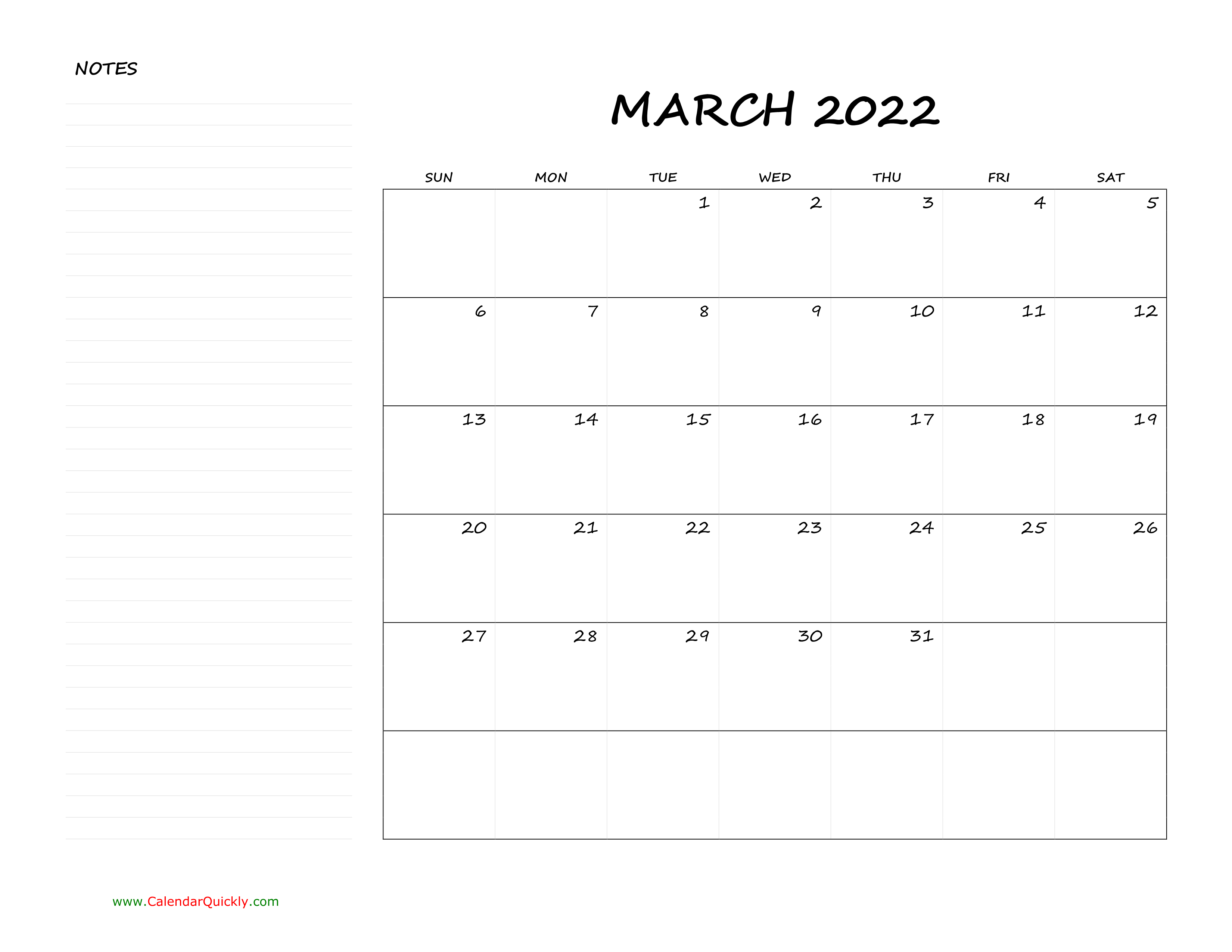 March Blank Calendar 2022 with Notes | Calendar Quickly