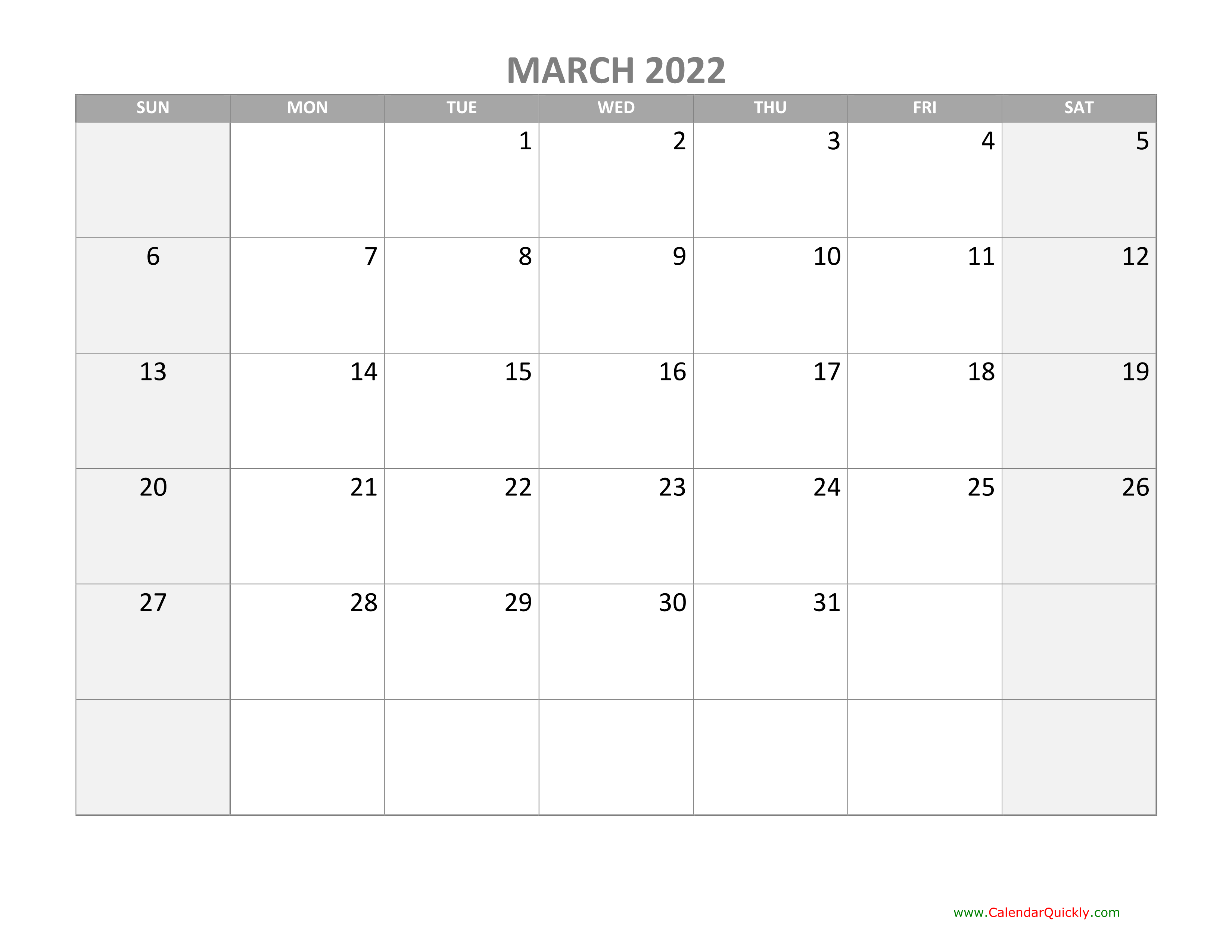 March Calendar 2022 with Holidays | Calendar Quickly