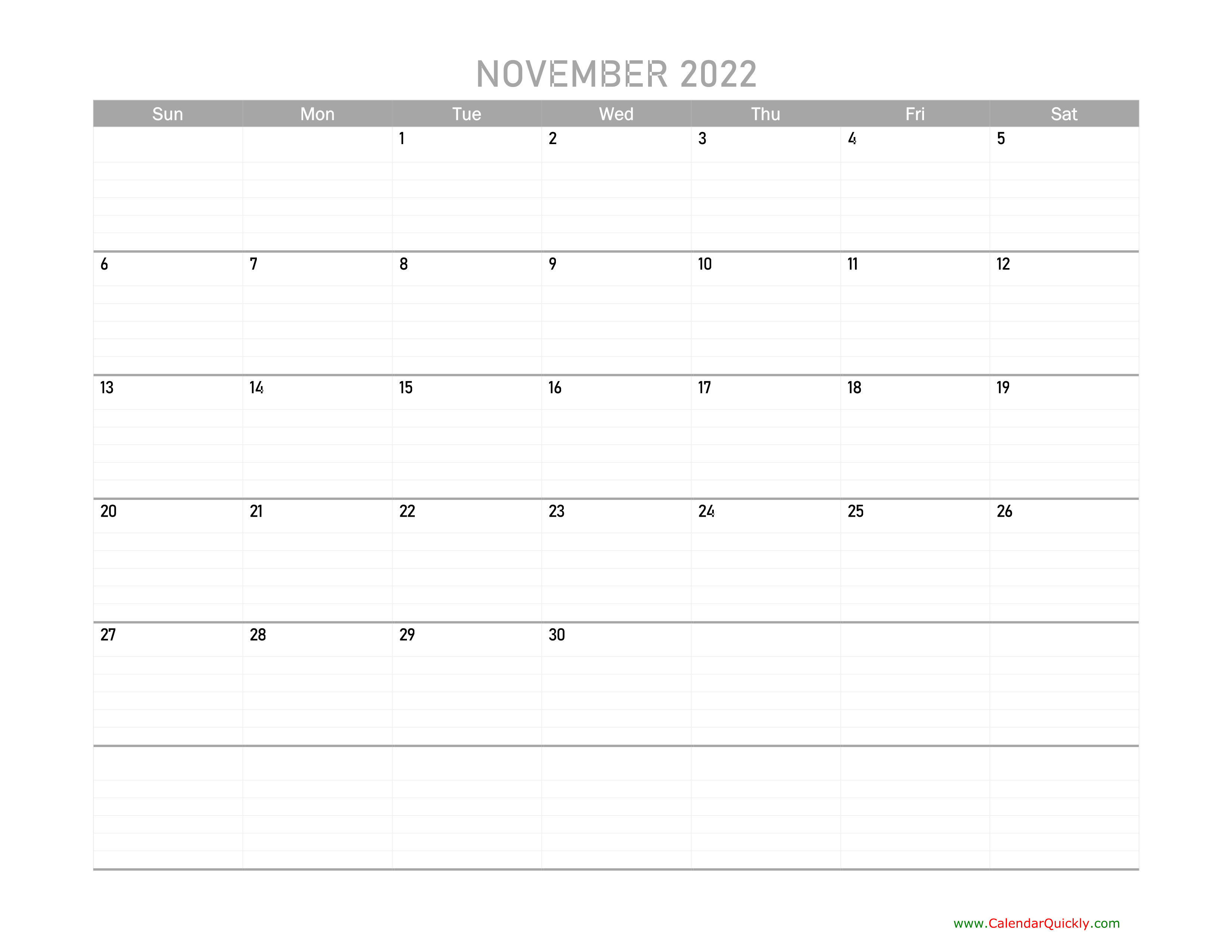 November Calendar 2022 Printable | Calendar Quickly