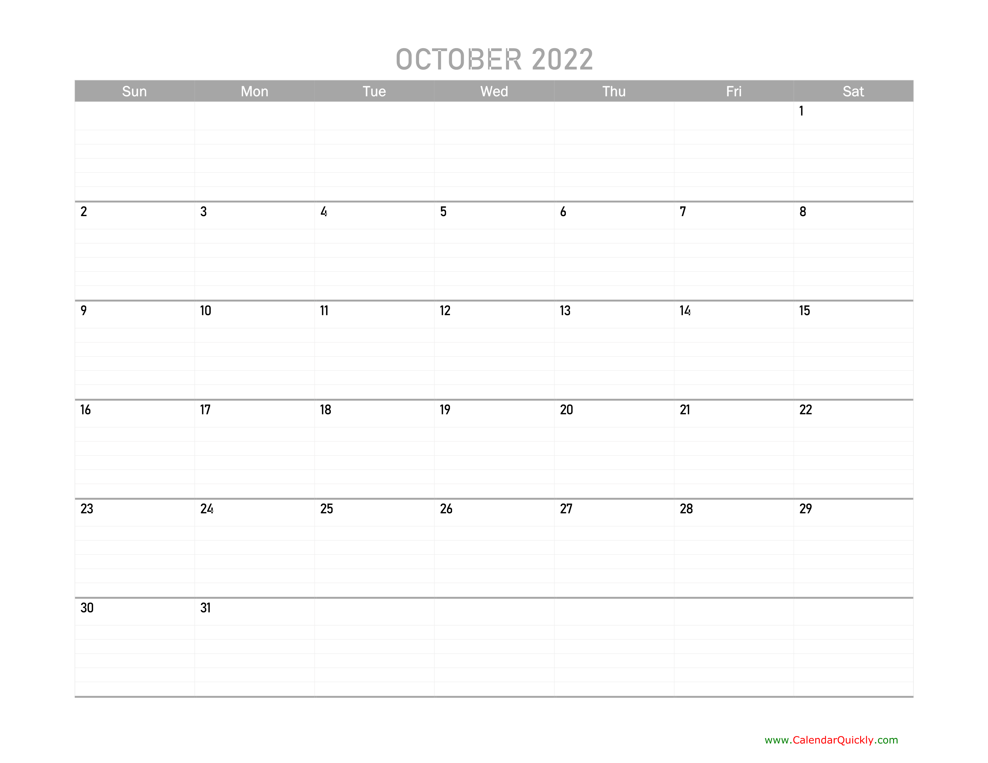 October Calendar 2022 Printable | Calendar Quickly